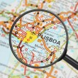 Destination - Lisbon (with magnifying glass) — Stock Photo