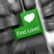 Conceptual keyboard - Find Love (green key). Zoom effect — Stock Photo