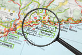 Destination - Monte-Carlo (with magnifying glass) — Stock Photo