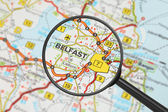 Destination - Belfast (with magnifying glass) — Stock Photo