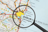 Destination - Dublin (with magnifying glass) — Stock Photo