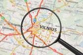 Destination - Vilnius (with magnifying glass) — Stock Photo