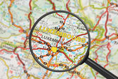 Destination - Luxembourg (with magnifying glass) — Foto Stock