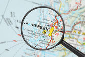 Destination - Bergen (with magnifying glass) — Stockfoto