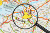 Destination - Bristol (with magnifying glass) — Stock Photo