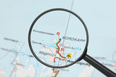 Destination - Nordkapp (with magnifying glass) — Stock Photo