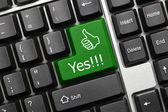 Conceptual keyboard - Yes (green key with thumb up) — Stock Photo