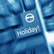 Conceptual keyboard - Holiday key (blue toned). Zoom effect — Stock Photo #18936323