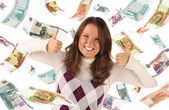 Successful girl on falling roubles background — Stock Photo