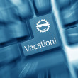 Conceptual keyboard - Vacation key (blue toned). Zoom effect — Stock Photo #20316519