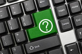 Conceptual keyboard - Question mark (green key) — Stock Photo