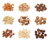 Stacks of nuts collection — Stock Photo