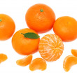 Pile of ripe mandarins (isolated) - Stock Photo