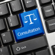 Conceptual keyboard - Consultation (blue key with law symbol) — Stockfoto