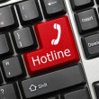 Stock Photo: Conceptual keyboard - Hotline (red key)
