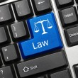 Stock Photo: Conceptual keyboard - Law (blue key with scales symbol)
