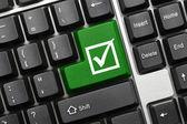 Conceptual keyboard - Checkbox with tick (green key) — Stock Photo