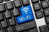 Conceptual keyboard - Wi-Fi (blue key) — Stock Photo