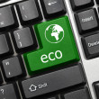 Conceptual keyboard - Eco (green key with world icon) — Stock Photo