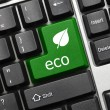 Conceptual keyboard - Eco (green key with leaf icon) — Stock Photo