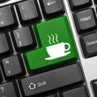 Conceptual keyboard - Coffee cup (green key) — Stock Photo