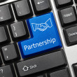 Conceptual keyboard - Partnership (blue key with handshake symbo — Stock Photo