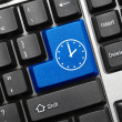 Conceptual keyboard - Time icon (blue key) — Stock Photo