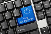 Conceptual keyboard - Time management (blue key) — Stock Photo