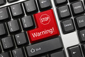 Conceptual keyboard - Warning (red key with stop sign) — Stock Photo