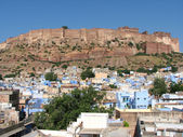 Meherangarh fort dominating the city - Jodhpur, Rajasthan, India — Stock Photo