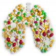 Lung of pills and capsules — Stock Photo
