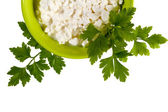 Bowl with fresh cottage cheese — Stock Photo