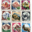 Stock Photo: Old italipost stamps, castles