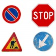 Four  italian roadsign isolated on white — Stock Photo