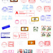 Postmarks, labels, post stamps background — Stock fotografie