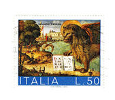 Old italian post stamp, lion of san Marco — Stock Photo