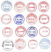 Europe, circular postmarks — Stock Photo