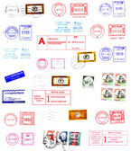 Postmarks, labels, post stamps background — Stock Photo