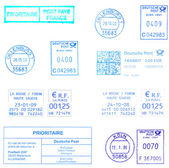 Blue european postmarks — Stock Photo