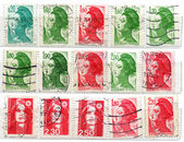 Range of French postage stamps — Stock Photo