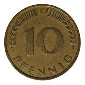 Moneda de alemán 10 pfenning aislado — Foto de Stock