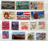 Bunch of USA postage stamps — Stock Photo