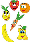 Vector drawings of funny fruits and vegetables — Stock Vector