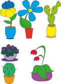 Potted plants in pots — Stock Vector