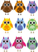 Child's drawing - colored owl — Stock Vector