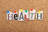 Health on a cork board — Stock Photo