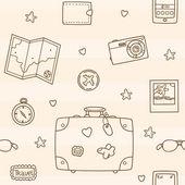 Hand drawn travel pattern — Stock Vector