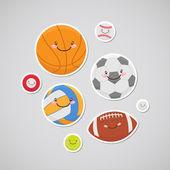 Cute balls (sticker) — Stock Vector