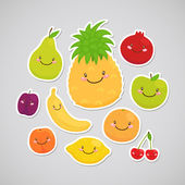 Cute fruit (sticker) — Stock Vector