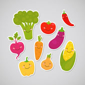 Cute vegetable (sticker) — Vecteur